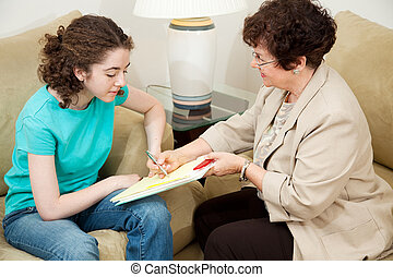 tiener, counseling, -, overeenkomst, tekens & borden