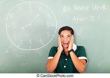 tiener, denken, niet, meisje, hebben, huiswerk