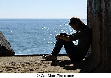 tiener, droefheid, eenzaam, strand, meisje