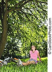 tiener, fiets, haar, relaxen, park, meisje