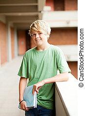 tiener, gebouw, school student