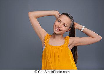 tiener, gele, het poseren, mooi meisje, tank-top