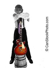 tiener, gitaar, koel