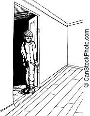 tiener, grinning, schets, empty room