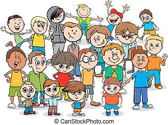 tiener, groep, spotprent, jongens, karakters, of, geitje