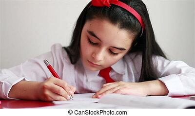 tiener, haar, meisje, huiswerk