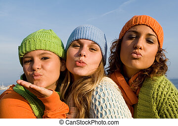 tiener, het glimlachen, meiden, vrolijke
