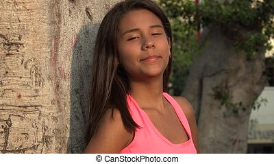 tiener, het glimlachen meisje