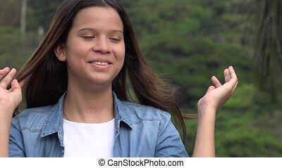 tiener, het glimlachen meisje, vrolijke