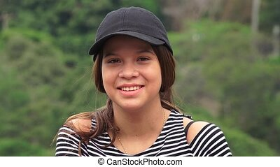tiener, het glimlachen, schattige, meisje