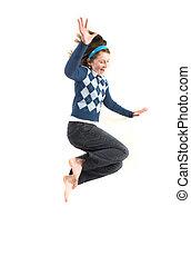 tiener, het hoge springen