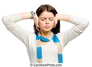 tiener, het sluiten, haar, oor, met, handen