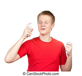 tiener, het verstuiven, geur, parfum