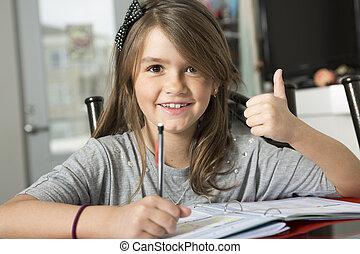 tiener, huiswerk, school., meisje