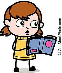 tiener, -, illustratie, magazine, vector, retro, girl lezen, spotprent