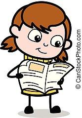 tiener, -, illustratie, magazine, vector, retro, nieuws, girl lezen, spotprent