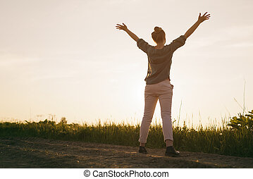 tiener, info, ruimte, voelen, vrijheid, hemel, armen, stander, vrouwlijk, meisje, kopie, jouw, uitgerekkenene