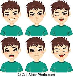 tiener, jongen, gezicht, uitdrukkingen