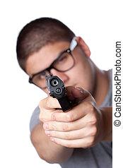 tiener, kerel, pointing vuurwapen