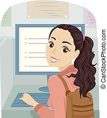 tiener meisje, computer, bibliotheek