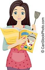 tiener meisje, het koken, magazine