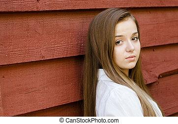 tiener meisje, mooi, jonge, buitenshuis