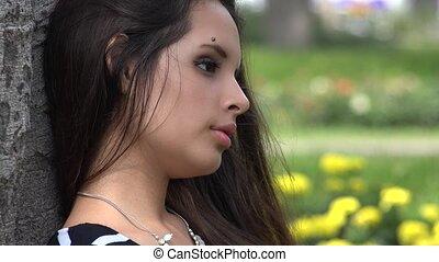 tiener meisje, ongelukkig
