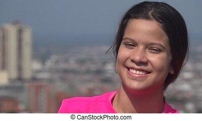tiener meisje, persoon, het glimlachen, of, vrolijke