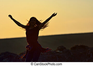tiener, mooi, tegen, sprong, ondergaande zon , meisje