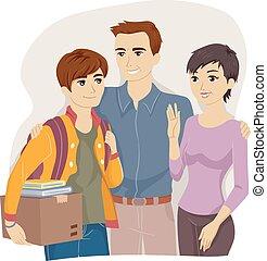 tiener, ouders, kerel, universiteit