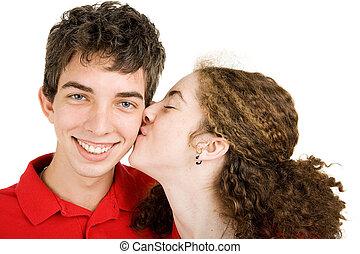 tiener, -, paar, liefde