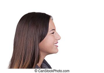 tiener, profiel, horizontaal, kaukasisch, verticaal, het glimlachen van het meisje