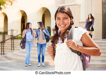 tiener, schattig, wandelende, school, spaans, student, meisje, campus