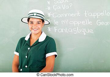 tiener, school, franse , hoog, leren, meisje
