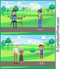 tiener, set, park, jonge, vector, grootouder