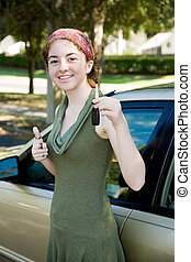 tiener, sleutels, bestuurder