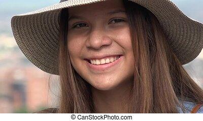 tiener, spaans, het glimlachen meisje