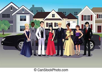 tiener, staand, lang, schoolbal, limousine, voorkant, jurkje