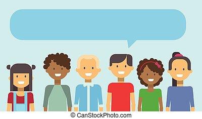 tiener, vrouw, groep, praatje, jongens, meiden, tieners, jonge, malen, vermalen, anders, hardloop, glimlachen gelukkig, bel, man