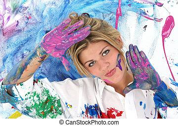 tiener, vrouw, schilderij