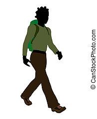 tiener, wandelaar, amerikaan, silhouette, afrikaan