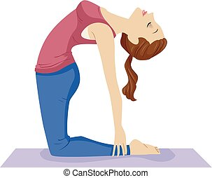 tiener, yoga, kameel, pose, illustratie, meisje