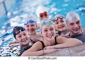 tiener, zwemmen, groep, pool, vrolijke