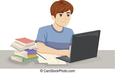 tienerjongen, draagbare computer, studeren