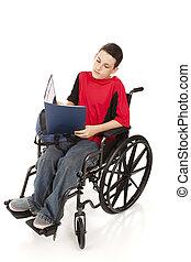 tienerjongen, in, wheelchair, studerend