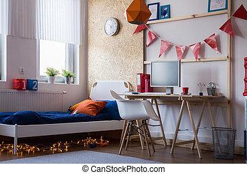 tienerjongen, moderne, slaapkamer