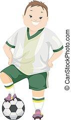 tienerjongen, syndroom, illustratie, dons, voetbal