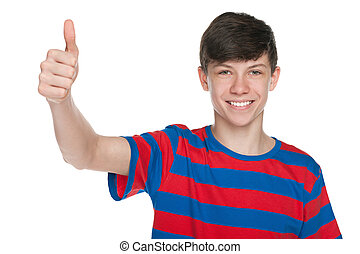 tienerjongen, zijn, duim, houden, op, het glimlachen