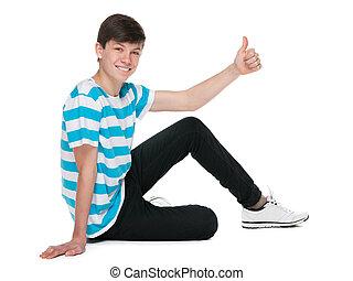 tienerjongen, zijn, duim, houden, op