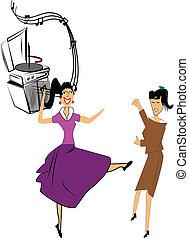tienermeiden, twee, dancing